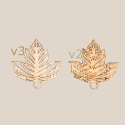art leaf v2 and v3 final.png Download free STL file Earrings: artistic leaf (v2 & v3) • 3D printer object, IdeaLab