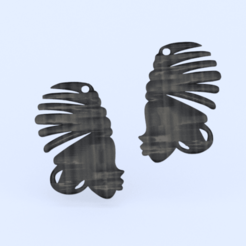 Download free 3D printing models Earrings: African woman (two files!), IdeaLab