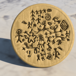 Free STL file Coaster with ancient cave painting (pair), IdeaLab
