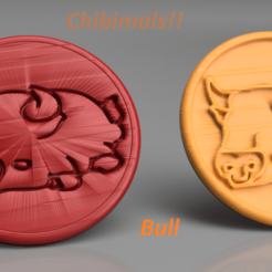 bull v2.png Download free STL file Bull chibimals coaster (pair) • 3D printing object, IdeaLab