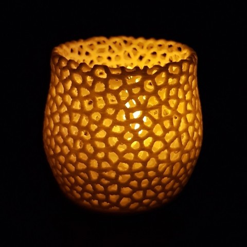 Download free 3D printing templates Tealight Holder Voronoi, Peter-Jan