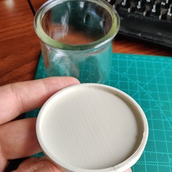 2020-10-01 12.14.49.jpg Download free STL file Lid for Yoplait OUI Glass Yogurt Container • 3D printing model, bigrjsuto