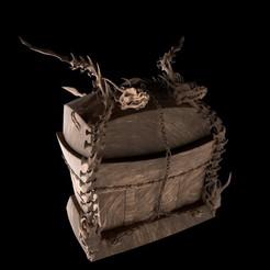 Dragon Trasure Chest Madera.jpg Télécharger fichier OBJ Modèle d'impression 3D du coffre au trésor du dragon • Design pour imprimante 3D, Obimaxskenobi