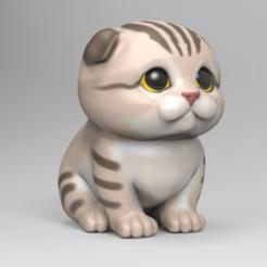 SC03.png Télécharger fichier STL Mignon chaton écossais plié STL pour modèle d'impression 3D • Design à imprimer en 3D, seberdra