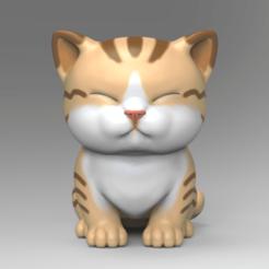 V301.png Download STL file Cute Kitten V3 STL for 3DPrint • 3D print object, seberdra