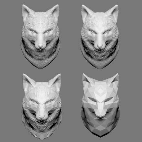 STL file Fox Bust - 4 Types STL 3D print model, seberdra