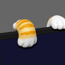CCFF.png Download STL file Cute Cat Paw for Monitor Climb • 3D print object, seberdra