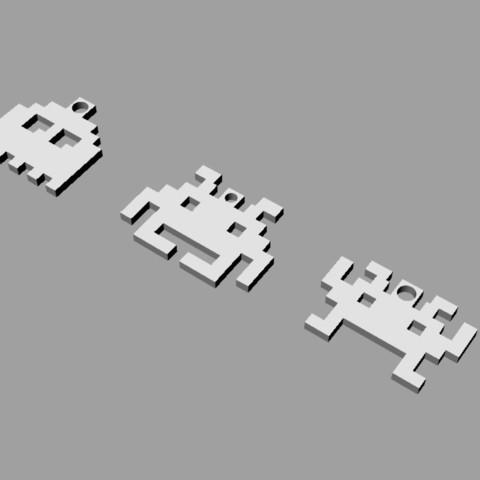 space_invader_keyringrender_display_large.jpg Download free STL file 8-bit space invader keychain • Design to 3D print, Durbanarb