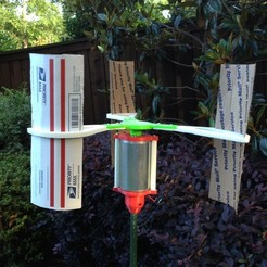 "Download free STL file Modified Vertical Axis Wind Turbine (1/4"" Motor Shaft), Durbanarb"