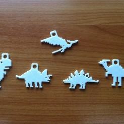 Free 3D printer model dino 8-bit keychain, Durbanarb