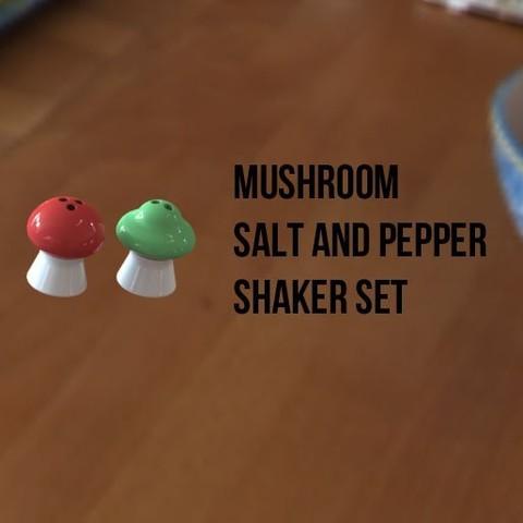 Download free 3D printer designs Mushroom Salt and Pepper Shaker Set, Durbanarb