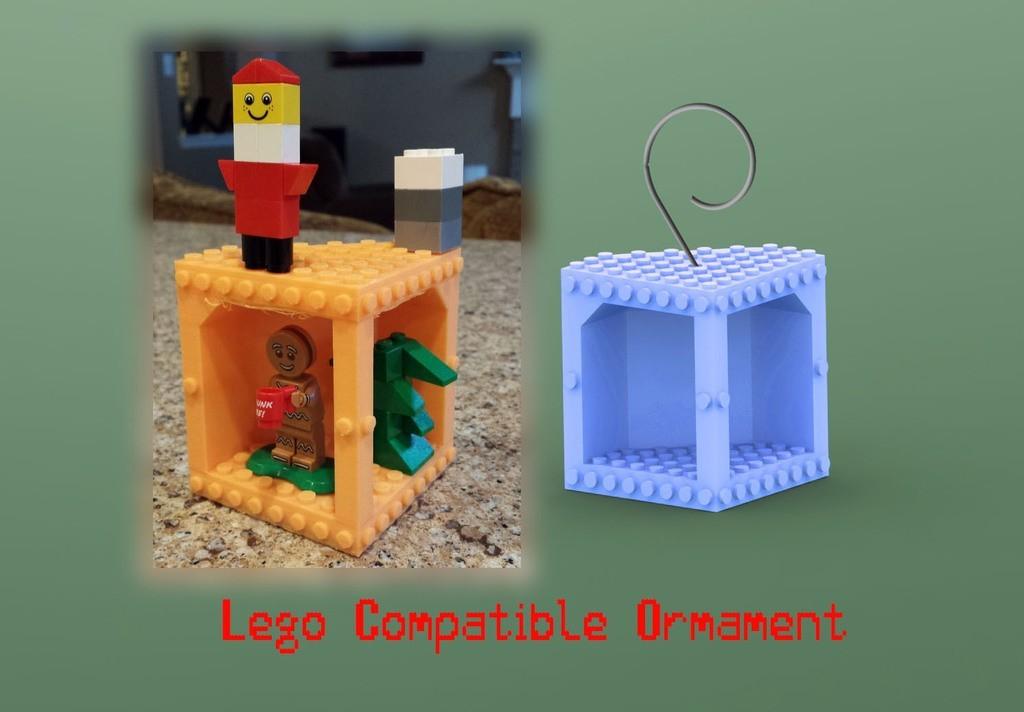 legoornamentpromo_display_large.jpg Télécharger fichier STL gratuit Ornement compatible Lego • Objet à imprimer en 3D, Durbanarb