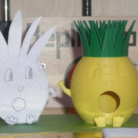 PineappleMan4_display_large.jpg Télécharger fichier STL gratuit Maison d'oiseau de l'homme ananas • Objet pour impression 3D, Durbanarb