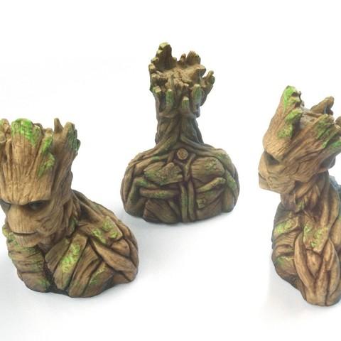Groot2_display_large.jpg Télécharger fichier STL gratuit Groot Buste Groot Sculpture • Modèle pour impression 3D, Bolnarb
