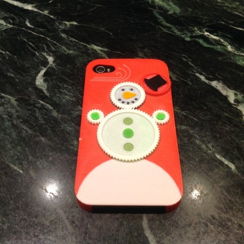 Free 3D print files Iphone 4s Christmas Snowman Gear Case, Bolnarb