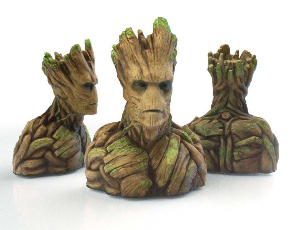 Groot1_display_large.jpg Télécharger fichier STL gratuit Groot Buste Groot Sculpture • Modèle pour impression 3D, Bolnarb