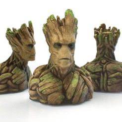 Groot1_display_large.jpg Download free STL file Groot Bust Sculpture • 3D printable design, Bolnarb