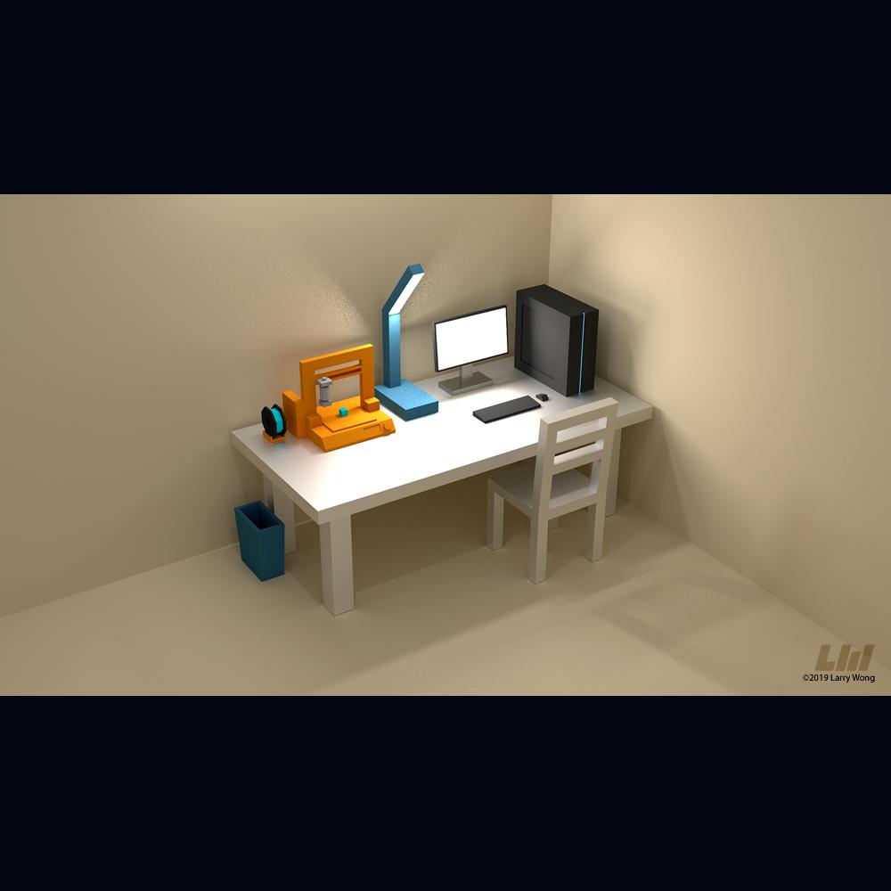 lp3d.png Télécharger fichier STL gratuit Lecteur d'imprimantes 3D Low Poly 3D • Objet pour impression 3D, auralgasm