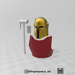 full set 1.jpg Download STL file STAR WARS MANDALORIAN ARMORER BLACKSMITH ARMOR helmet hammer (Full set bundle) • Object to 3D print, Hephaestus3D