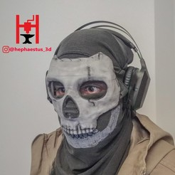 Download 3D printer templates Simon Ghost Riley Mask Call Of Duty cod modern warfare warzone (inspired) , Hephaestus3D