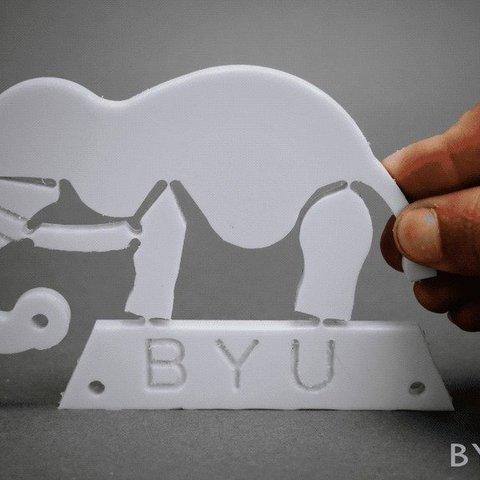 "43e196abf8dcb94e4f607bd9eb14a436_display_large.jpg Download free STL file ""Wyrd"" Elephant Compliant Mechanism • 3D print object, byucmr"
