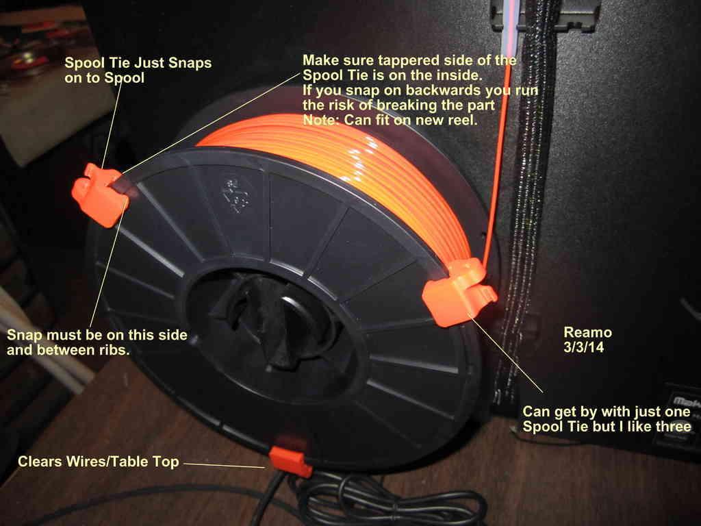 Spool_Tie_Notes_001_display_large.jpg Télécharger fichier STL gratuit Attache de bobine pour bobines de matériau PLA • Objet à imprimer en 3D, Tarnliare