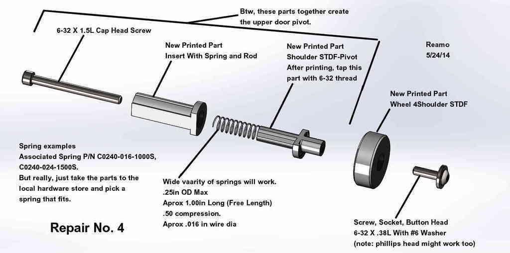 Repair_004-Upper_Pivot_Wheel_002_display_large.jpg Download free STL file Five Closet Door Repairs! • 3D printer template, Tarnliare