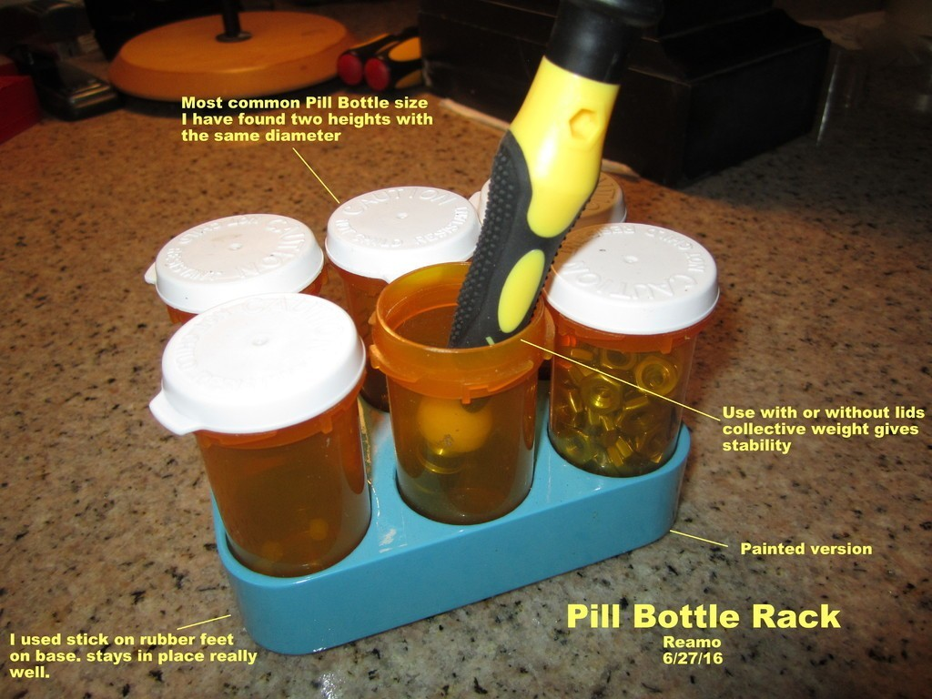 f0676ade9ab209efd713bee1b2639b31_display_large.jpg Télécharger fichier STL gratuit Range-bouteilles pour pilules • Design imprimable en 3D, Tarnliare