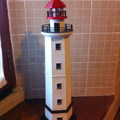 Free 3D printer designs Hexagonal Base Lighthouse Model, Ogubal3D