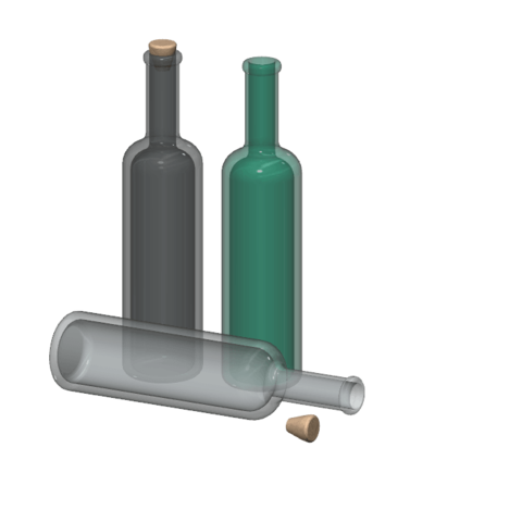 Download free 3D printing files wine bottle 1/10, wavelog