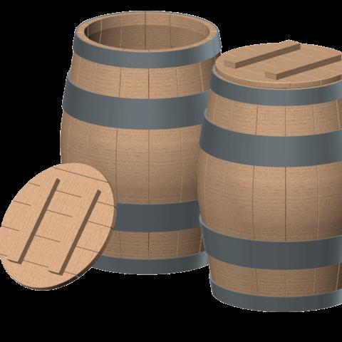 Modelos 3D barril de madera 1/10, wavelog
