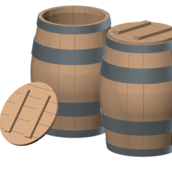 wooden barrel 01.png Download STL file wooden barrel 1/10 • 3D printer model, wavelog