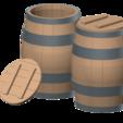 wooden barrel 01.png Télécharger fichier STL tonneau en bois 1/10 • Plan à imprimer en 3D, wavelog