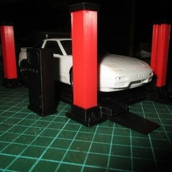 Download 3D print files four post lift miniature diorama mini rc 1/28 , wavelog
