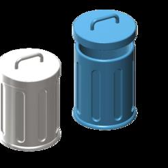 Free STL file trash can 1/10, wavelog