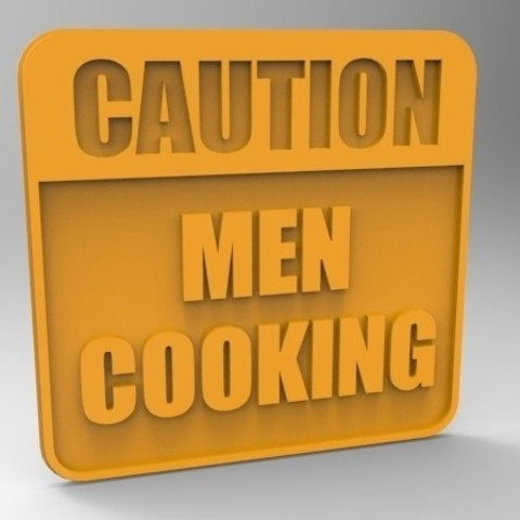 Download free 3D printing templates Caution Men Cooking Sign, Fydroy
