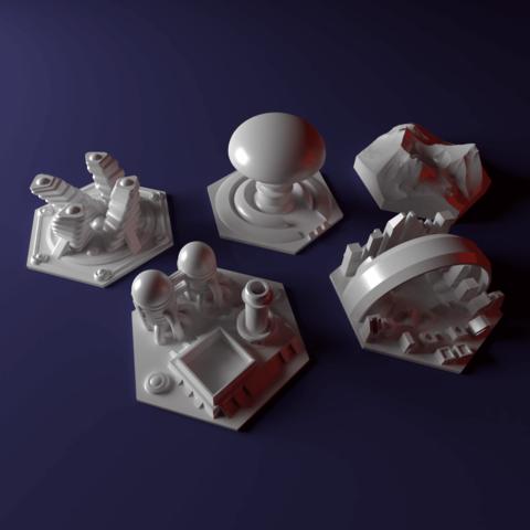 3D print model Custom special tile set for Terraforming Mars - special tiles nr 7-11, Rayjunx