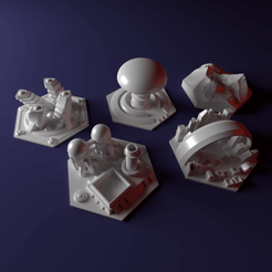 3D print model Custom special tile set for Terraforming Mars - special tiles nr 7-11, Rayjunx