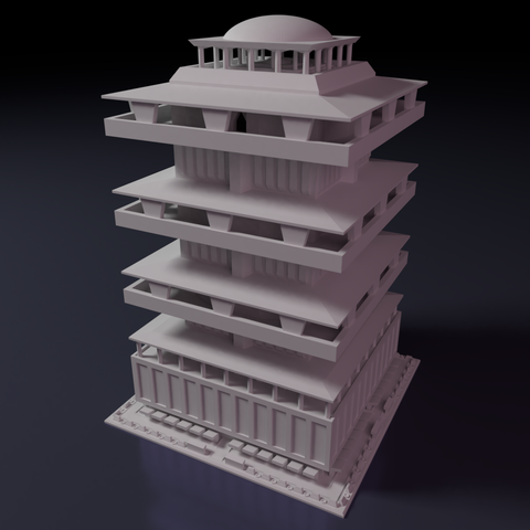 Downtown-highrise-1.png Download STL file Downtown highrise - Building - For board games like Monsterpocalypse • 3D printable design, Rayjunx