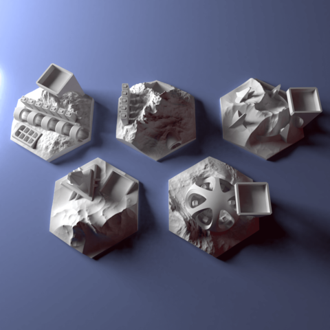 Download 3D model Custom city tile set for Terraforming Mars - Cities 6-10, Rayjunx