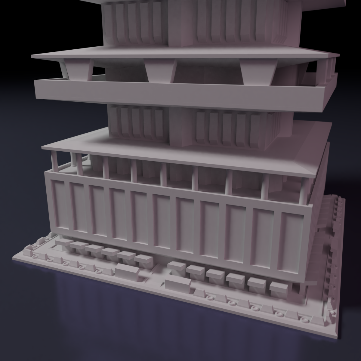 Downtown-highrise-2.png Download STL file Downtown highrise - Building - For board games like Monsterpocalypse • 3D printable design, Rayjunx