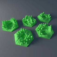 Download free 3D printer designs Custom forest tile set for Terraforming Mars - Forrest 1-5, Rayjunx