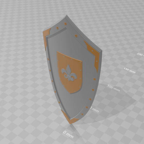Download free 3D printing models Medieval Lis Flower Emblem Kite Shield 3d model, bodisatva3
