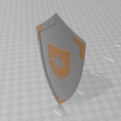 Download free 3D printing models Medieval Lis Flower Emblem Kite Shield 3d model, GuillermoMX
