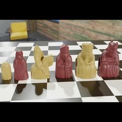 Télécharger modèle 3D Printable Medieval Chessmen Chess Set 2 OBJ 3MF 3D model, GuillermoMX