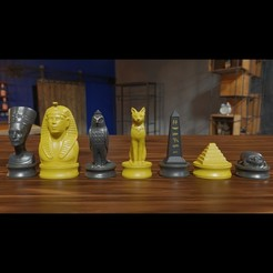 egypt chess1.jpg Download 3MF file Ancient Egypt Chess Pieces 3D Print OBJ 3MF • 3D print object, GuillermoMX