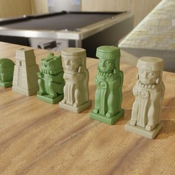 Download 3MF file Aztec Olmec Chess pieces with Board 3D print model • 3D printing design, GuillermoMX