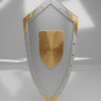 Download free STL file Medieval Lis Flower Emblem Kite Shield 3d model • 3D printing model, GuillermoMX