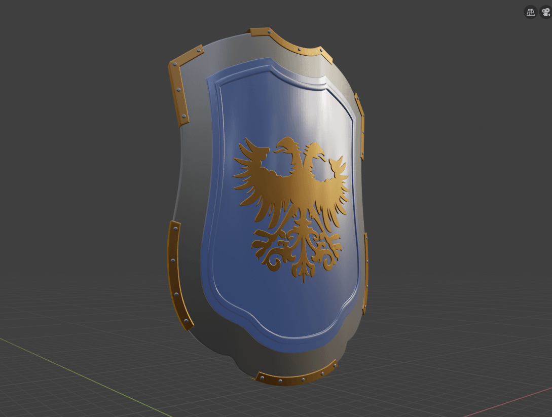 eagle shield ready.png Download free 3MF file Medieval Eagle Emblem Shield 3d model • 3D print model, GuillermoMX