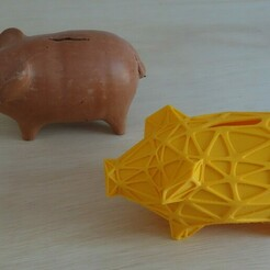 DSC07749.JPG Download free STL file Wireframe Piggy Bank • 3D printer design, viralata